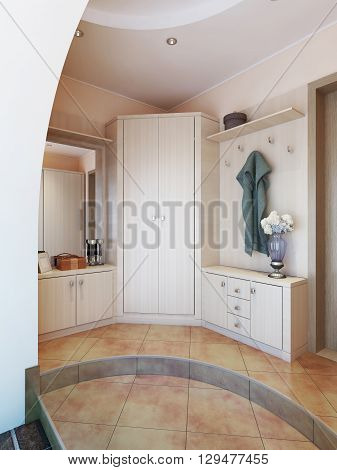 Hallway in modern style with hangers a mirror dressing table and a large sliding closet. 3D render.