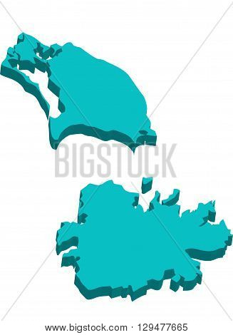 A map of Antigua and Barbuda 3D on white background