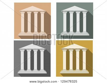 Building with columns. Set of icons in a flat style. Column. Doric Roman style. Vector illustration.