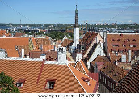 TALLINN, ESTONIA - AUGUST 01, 2015: Sunny summer day over the roofs of Tallinn. The landmark of Tallinn. Estonia