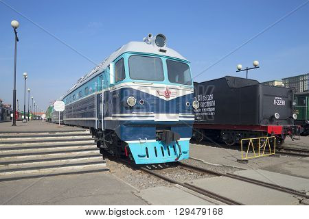 SAINT PETERSBURG, RUSSIA - MARCH 30, 2016: Cargo-and-passenger diesel locomotive TG-102 at the platform. Historical landmark of the city Saint Petersburg