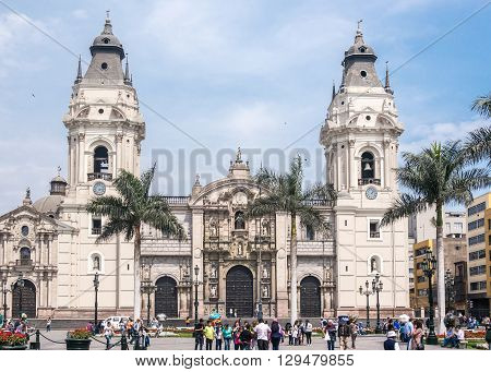 Frontal View Of The Lima Cathedral Facade