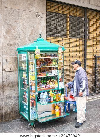 Lima Peru - October 11 2014 - A typical little street store selling drinks and sweets in downtown Lima Peru.