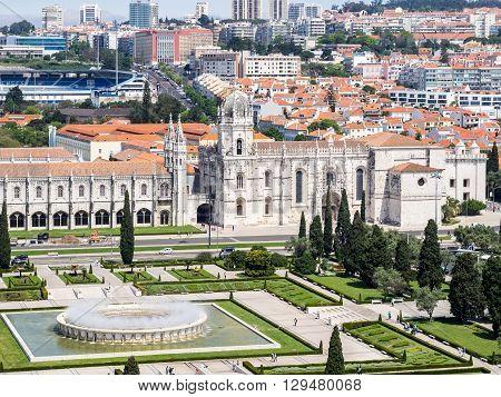 Belem, Portugal - April 28 2014: The Jeronimos Monastery in Belem Portugal
