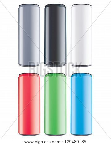 Aluminum cans color set isolated . Vector illustrator