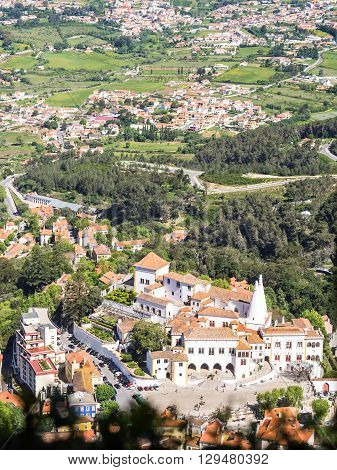 View of the Sintra village from the Moorish Castle