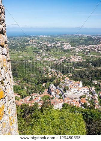 View of Sintra village and the atlantic Ocean from the Moorish Castle