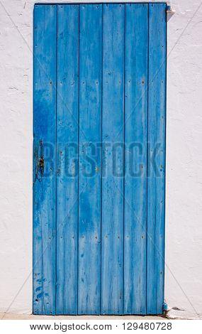 A Blue door in Es Calo village, Formentera, Spain