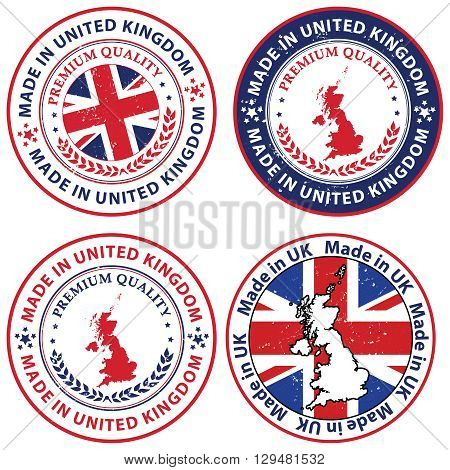 Made in UK - set of grunge labels / badge with the United Kingdom's map and flag. Print colors used.