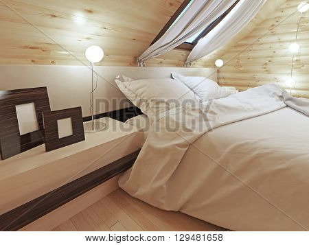The headboard of the bed with a bedside table with pictures. Contemporary bed with headboard and shelves. Bedroom log cabin style. 3D render.