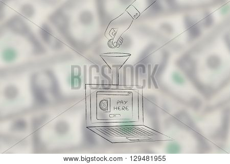 Hand Dropping Coin Into Laptop Through A Funnel