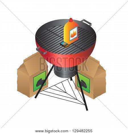 Vector BBQ liquid fire and coal set