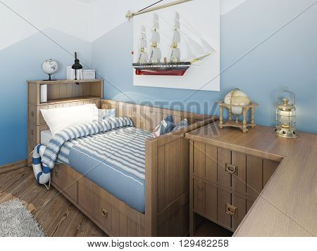 Baby Bed For A Young Teenager In A Ship Style With A Lifeline And Nautical Décor.