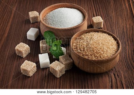 Brown Cane Sugar And A White Sugar