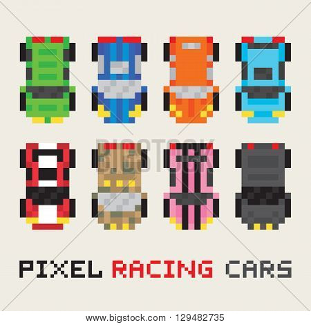 Pixel art style racing cars vector pack