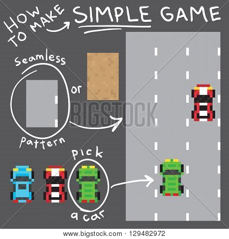 Pixel art style simple game vector objects pack