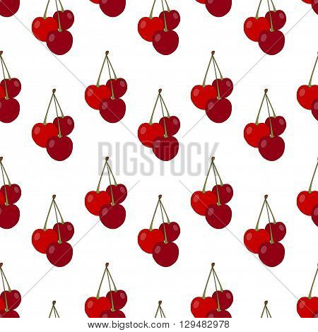 Seamless Pattern With Cherries. Cherries On A White Background. Vector Illustration.