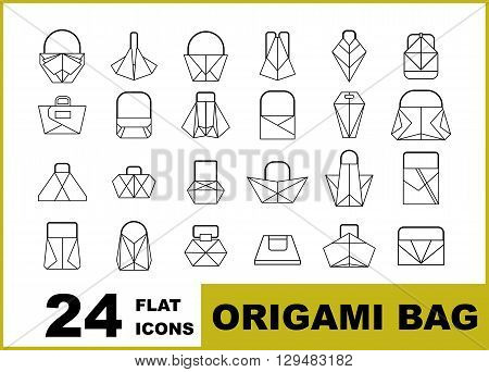 Set of lines icons of fashion handbags origami. Cartoon flat vector illustration. Objects isolated on a background.