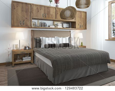 Large bright bedroom in the loft. Above the bed hang shelves closed and bedside tables with decorations. Furniture in rustic style. 3D render.