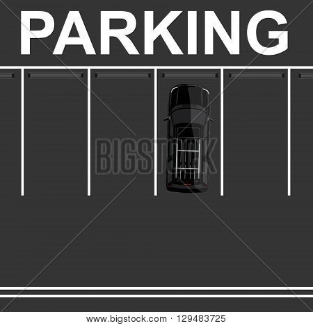 Vector illustration top view parking lot concept. Black car top view. Generic car. Sport car