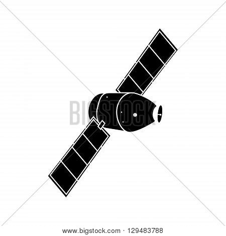Vector illustration communication satellite icon with solar cells battery.