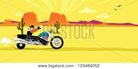 Cartoon biker riding a motorcycle, South Western USA landscape on the background, EPS 8 vector illustration, no transparencies