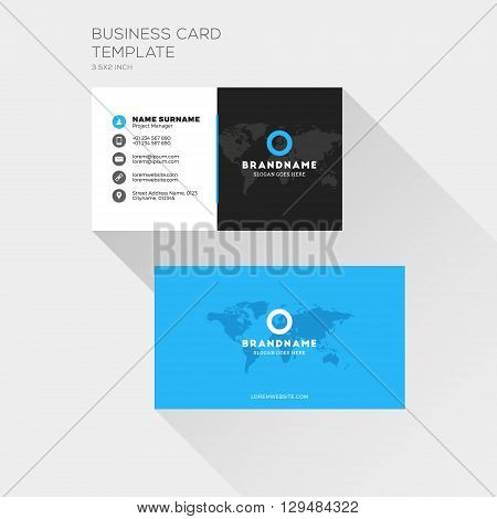 Corporate Business Card Print Template. Personal Visiting Card With Company Logo. Clean Flat Design.