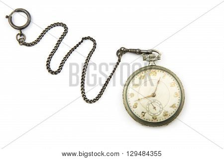 portrait of a antique silver pocket watch
