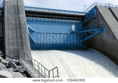 Water power plant hatchway from a river in the North of Sweden.