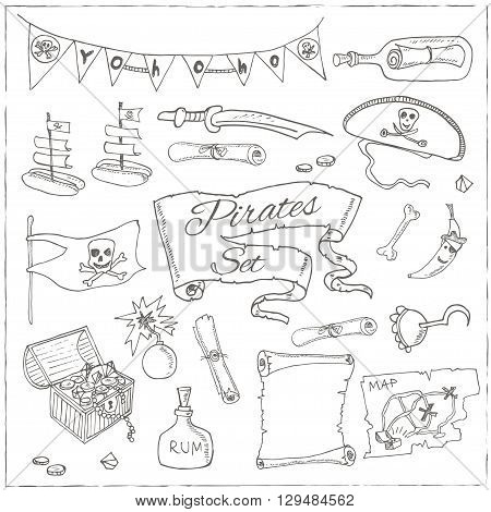 Pirates set pirate hat swords guns treasure chest black flag jolly roger emblem skull and crossbones pirate costume elements. Isolated  Vector illustration.