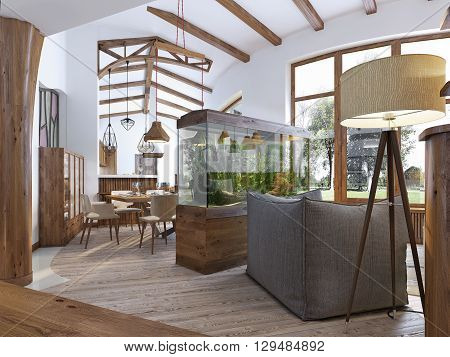 View from the hallway into the living room with an aquarium in the loft style. A large aquarium with a chair and a floor lamp in the living room. Wooden beams on the ceiling. 3D render.