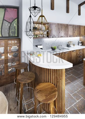 The bar counter in the kitchen loft style. The wooden bar with a white marble top and three wooden chairs. 3D render.