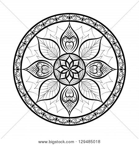 Vector Flower Mandala. Dreamcatcher style. Ethnic decorative element for your designs invitation card yoga meditation astrology and other projects. Mandala Icon.