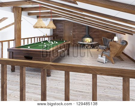 Billiard room in the attic with sitting area and fireplace. Modern billiard room in the loft. Wooden pool table. 3D render.