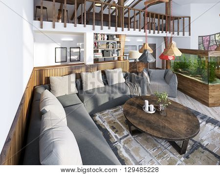 Large corner sofa in the living room luxury loft style with wood paneled walls and a second level with a handrail. 3D render.