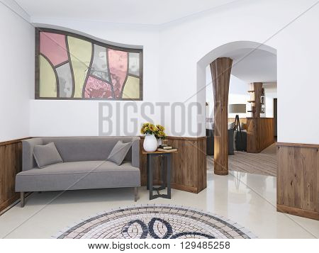 Hall home in a loft style with a high ceiling with lighting. The floor mosaic and marble tiles. Against the wall with a low sofa table. 3D render.
