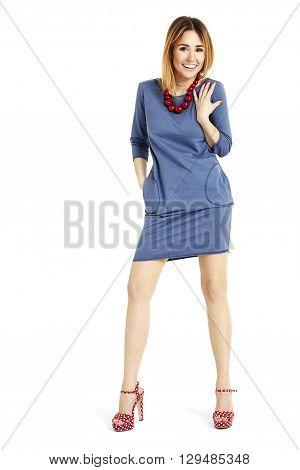 Full Length Portrait Of Cheerful Woman