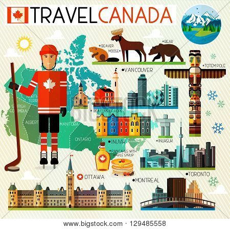 Vector Set of Various Canada Icons. Vector illustration.