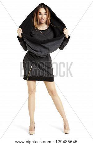 Attractive Woman In Black Mini Dress And Cape