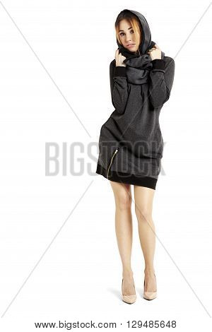Beautiful Girl In A Black Mini Dress