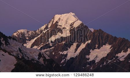 Mount Cook just after sunset. Purple sky. View from a place near Mueller hut.