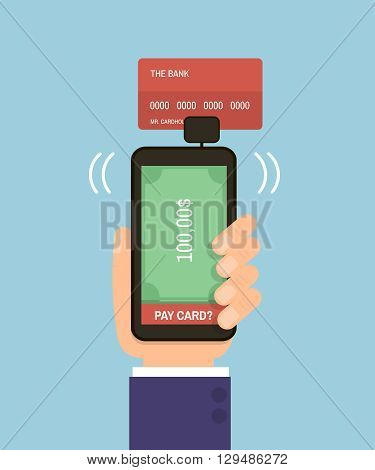 Hand holding smartphone with bank card. Mobile pay credit card. Flat Vector Illustration