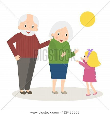 Senior people happy leisure time with granddaughter. Happy Grandparents with little granddaughter. Vector illustration