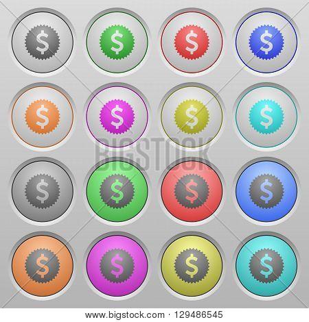 Set of Dollar sticker plastic sunk spherical buttons.
