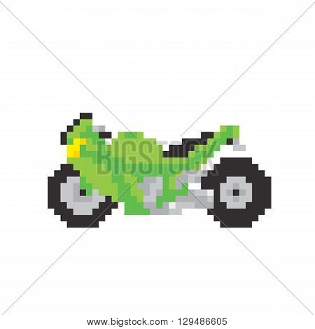 Sport motorbike in pixel art style isolated vector