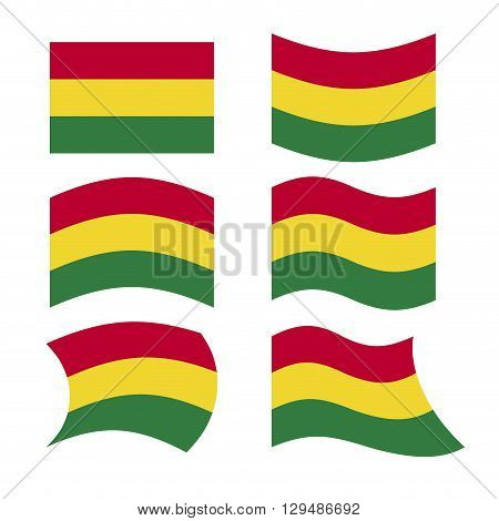 Bolivia Flag. Set Of Flags Of Bolivian Plurinational State In Different Forms. Developing Bolivian S