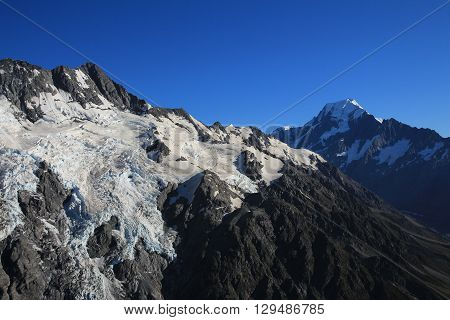 Summer scene in the Southern Alps. Huddleston and Tuckett glacier. Mt Cook highest mountain of New Zealand.