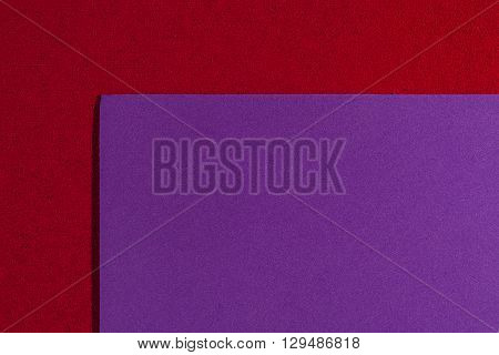 Eva foam ethylene vinyl acetate smooth purple surface on red sponge plush background