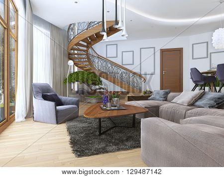 Living room with a large corner sofa from a fabric in a Contemporary style. Design spiral staircase leading to the second floor. Soft armchair with a modern floor lamp and a low table with decor. Large windiws. 3D render