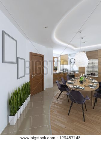 The large dining table in the kitchen area with eight upholstered chairs and beautiful chandelier over the table. Design dining room in a contemporary style. 3D render.